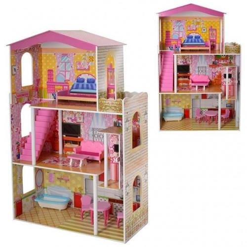 Деревянный Домик для кукол с мебелью MD 2008