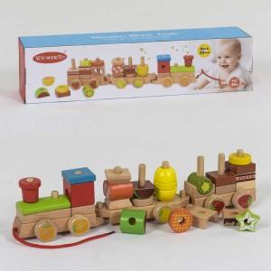 Деревянная каталка-конструктор Поезд (С 39272) 30 деталей