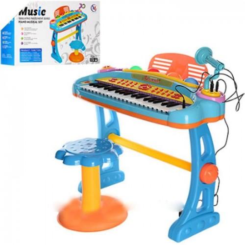 Синтезатор-пианино со стульчиком и микрофонами 6607-07A голубой