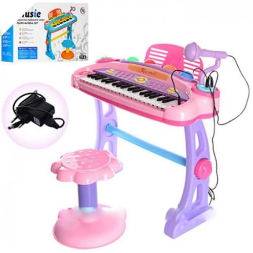 Синтезатор-пианино со стульчиком и микрофонам 6607-07A, розовый