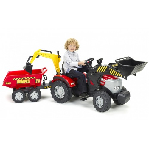 Трактор педальный  Falk 1030W  с прицепом и ковшом, экскаватором
