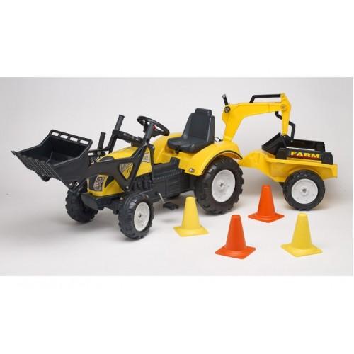 Трактор педальный с двумя ковшами и прицепом Falk 2085XC