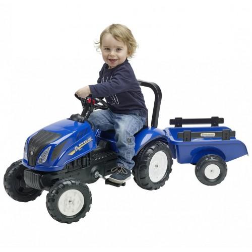 Трактор педальный с прицепом New Holland Falk 3090B. Машинка для детей