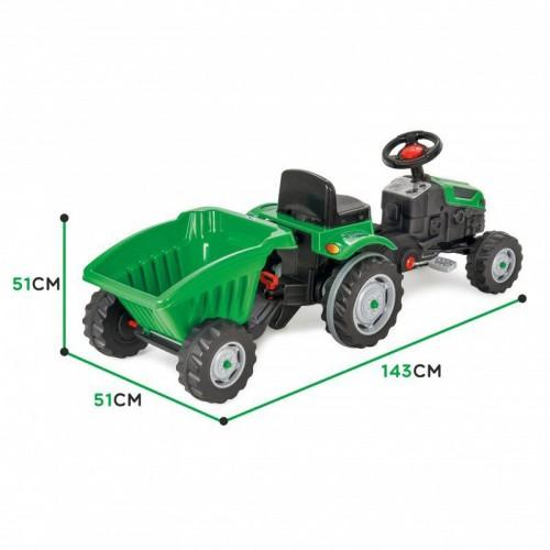 Трактор на педалях с прицепом зеленый Woopie 28286