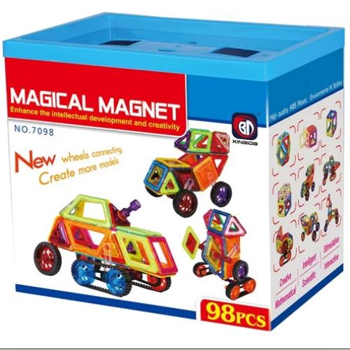 Магнитный конструктор Magical Magnet транспорт 7098 (98 деталей)
