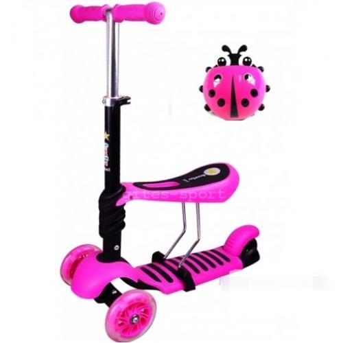 Самокат-беговел Scooter mini 3в1 (розовый) сиденье, корзинка, светящ. колёса.
