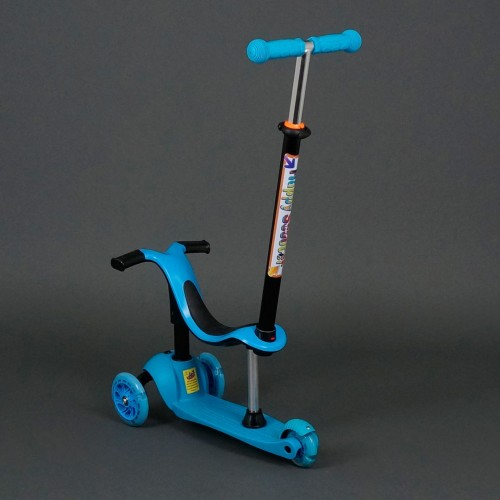 Самокат трехколесный с родительской ручкой 911 / 779-98 (голубой)