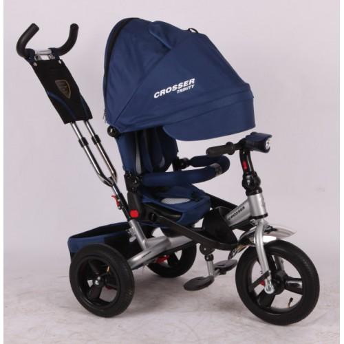 Трехколесный велосипед-коляска Azimut Crosser T-400 EVA, синий