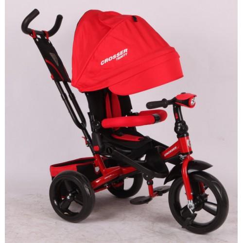 Трехколесный велосипед-коляска Azimut Crosser T-400 EVA, красный