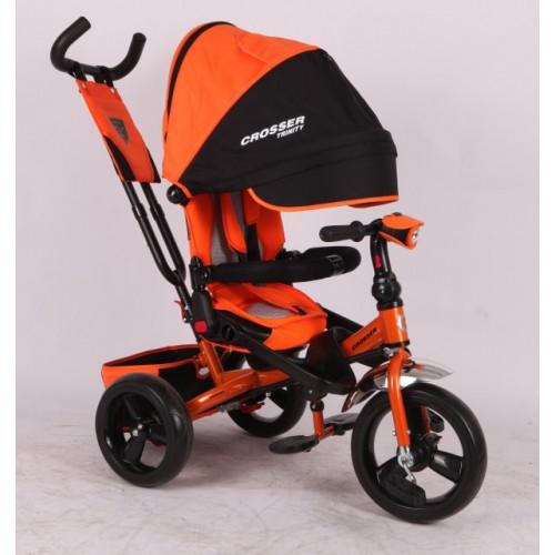 Трехколесный велосипед-коляска Azimut Crosser T-400 EVA, оранжевый