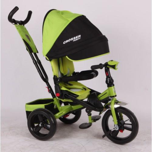 Трехколесный велосипед-коляска Azimut Crosser T-400 EVA, зеленый