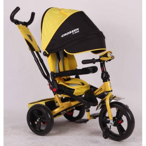 Трехколесный велосипед-коляска Azimut Crosser T-400 EVA, желтый