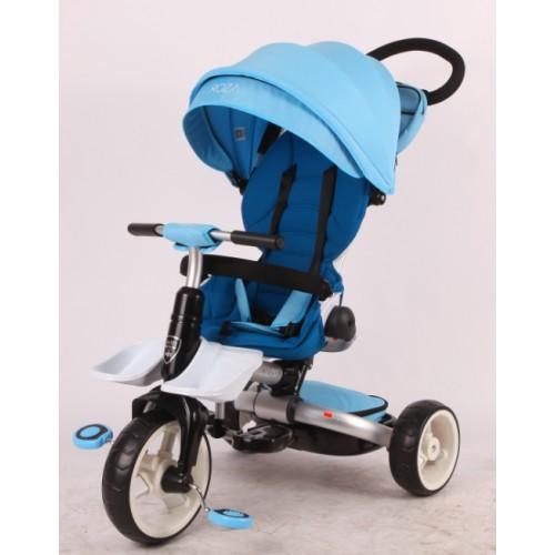 Детский трехколесный велосипед-коляска складной Crosser MODI T-600 ROSA EVA голубой