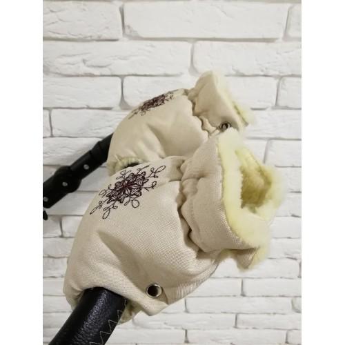 Рукавички-Муфта на коляску Ok Style Снежинка Лен