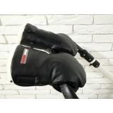 Рукавички-Муфта на коляску,с карманом для телефона. Z&D Thermo Еко кожа (Черный жемчуг)