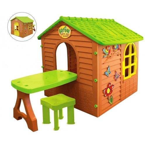 Детский игровой домик со столиком и табуретом Mochtoys 11045
