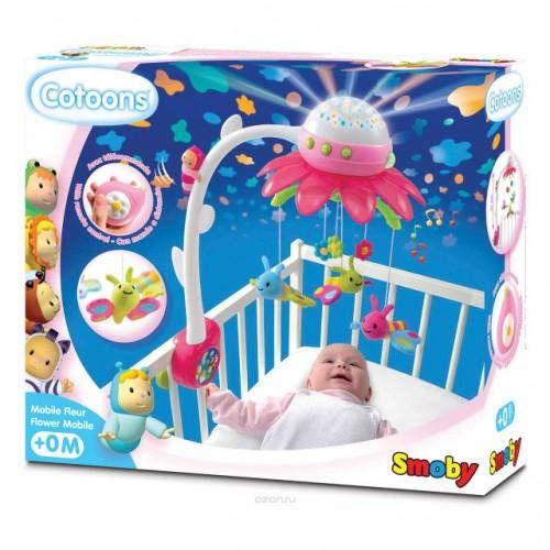 """Мобиль с проектором """"Cotoons Цветок Pink"""" Smoby 110110 pink"""