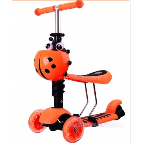 Самокат-беговел Scooter mini 3в1 (оранжевый) сиденье, корзинка, светящ. колёса.